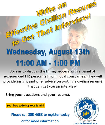 Writing an Effective Civilian Resume Workshop – August 13th | Jobs 4 ...