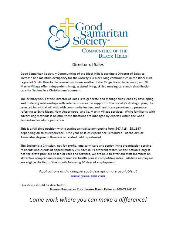 Good Samaritan Society  Sales Director (Rapid City, SD)   Jobs 4 Ellsworth